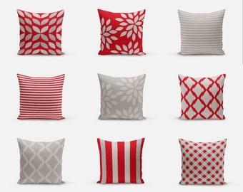 Outdoor Pillows,Red Grey, Outdoor Home Decor, Outdoor Throw Pillows