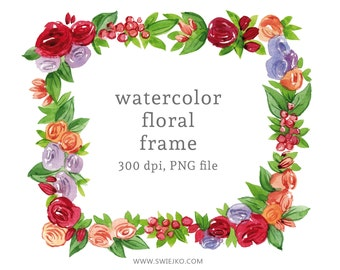 Digital Clipart, Watercolor Frame, Watercolor Floral Wreath