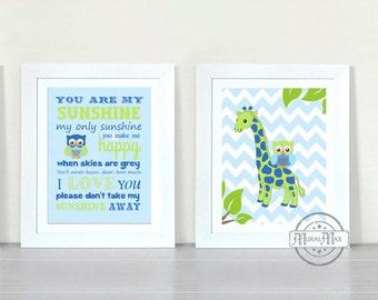 Nursery Art You Are My Sunshine My only Sunshine Prints - Giraffe and Owl Art for Kids Room, Kids Wall Art