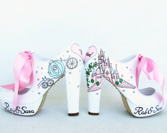 Wedding Shoes, Handpainted Bridal Shoes, Fairy Tale Shoes for Bride