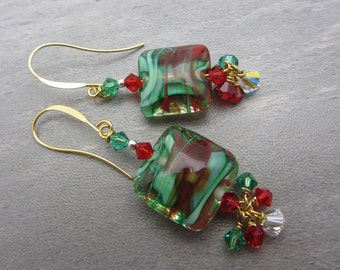 Christmas Lampwork Earrings Red and Green Earrings Glass Bead Earrings Dangle Drop Earrings Cluster Earrings SRAJD USA Handmade