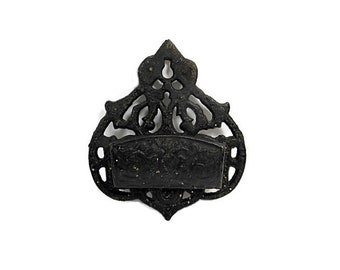 Vintage Cast Iron Match Holder Wall Mount Ornate Black Fireplace Kitchen Home Decor Accessory Box