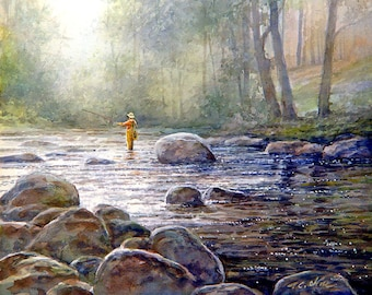 Fishing Art Print of Watercolor Painting  - stream, trees, nature lovers gift