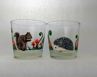 Whiskey Lover Gift Woodland Creatures Hedgehog Lover Gift Squirrel Lover Gift Forest Animals Bourbon Glasses Scotch Glass Bourbon Gift