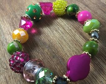 Beaded Bracelet, Bracelet, Statement Bracelet, Stretch Bracelet, Chunky Bracelet, Yellow Green Pink Beaded Bracelet