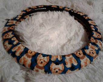Fully Lined All Weather Yorkie Power Steering Wheel Cover Seat Belt
