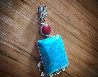 Large Sterling Silver 925 Turquoise and Coral Cabachon Pendant CLOSEOUT