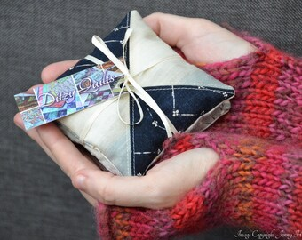 Lavender sachets Nocturne Janet Clare miniature patchwork lavender bags lavender pillows. Microwavable hand warmer or laundry drawer bags UK