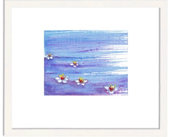 Small painting, miniature painting, tiny art, original painting, small drawing, tiny treasure, signed, blossoms, water, free shipping