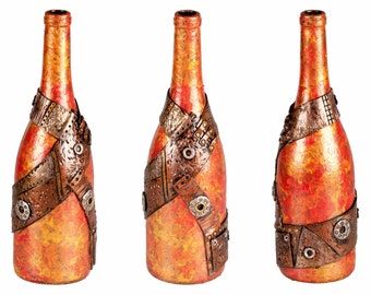 """11"""" Steampunk Oil Lamp Bottle - Orange/Red"""