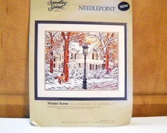 Vintage Needle Point Kit Snowy Winter Scene
