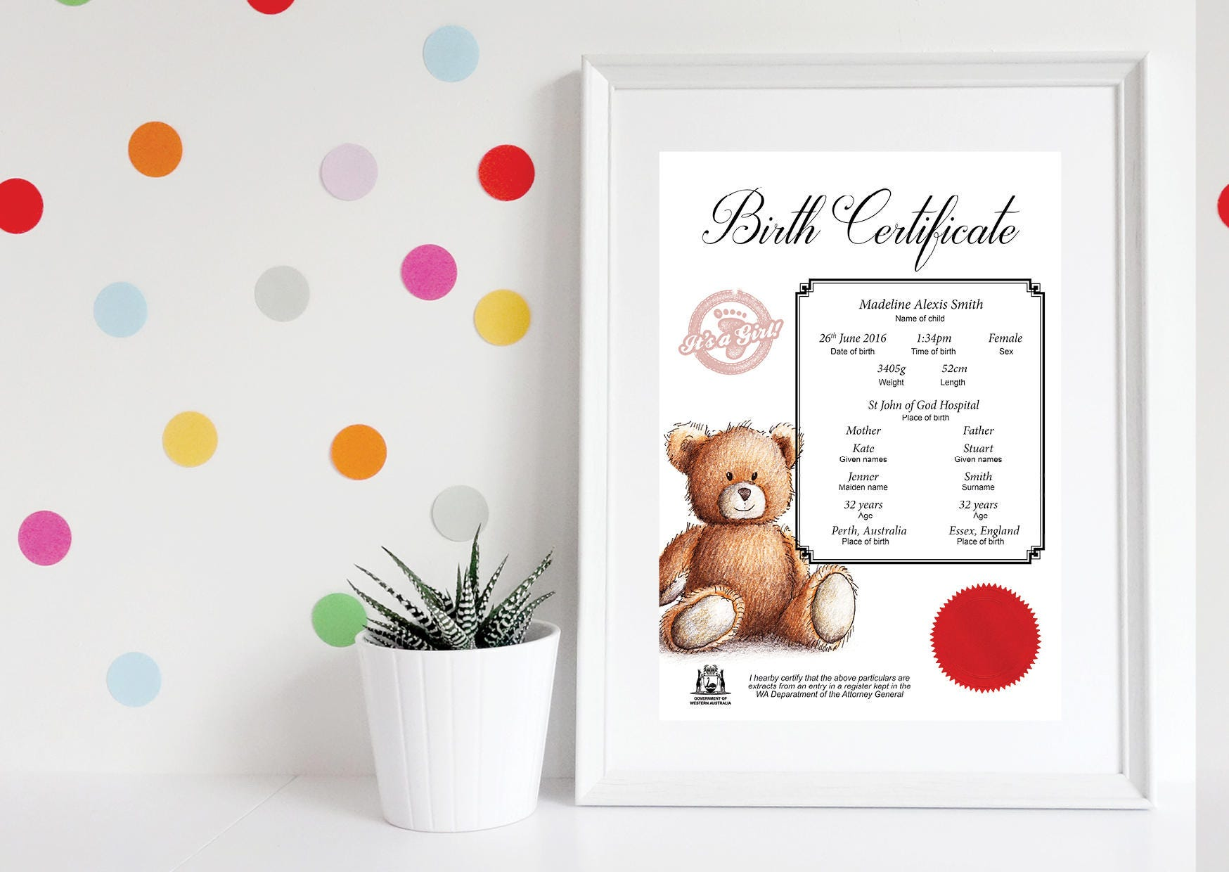 Printable birth certificate baby girl birth certificate zoom aiddatafo Choice Image