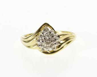 10k Pear Textured Diamond Accented Cluster Freeform Ring Gold