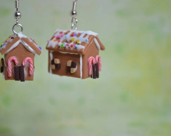 Kawaii/ Cute Gingerbread House Earrings