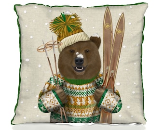 Bear pillow cover - Ski Bear Christmas Sweater skiing gift bear lover gift bear cushion cover ski lodge decor animal pillow cover funny gift