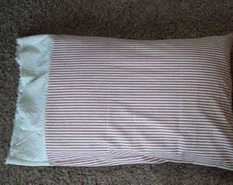 Red ticking pillow case, ticking pillow case, pillow case, bed pillowcase, farmhouse pillowcase, farmhouse ticking pillowcase, pillow cover