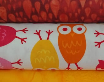 Urban Zoology Mini Owls Cotton Quilt Fabric  3 Pack  Crafting Sewing Quilting Material