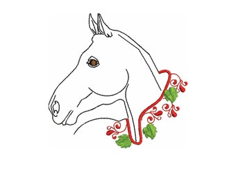 Horse redwork embroidery file, Line embroidery, horse embroidery design