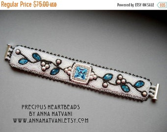 SALE 15% OFF Bead Embroidery Kit  Swarovski (Instructions and materials) -  Cuff Aquamarine teal silver - LiMited Edition