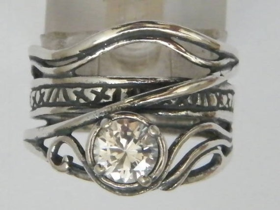 hippie ring cubic zirconia ring silver ring for woman
