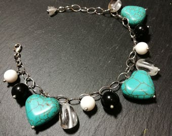 sterling silver handmade barcelet with charms