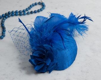 Fascinator Blue, Yves Klein Blue, Vintage Style Headdress, Hair Accessories, Headdress Blue, Satin, Sky Blue, Something Blue, Wedding, 2018