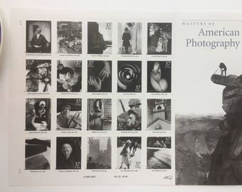 10 Masters of American Photography 37c US postage stamps unused - Black & White Man Ray Ansel Adams art