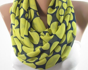 Christmas Gift For Her Polka Dots Scarf Shawl Wrap Navy Blue Yellow Scarf Chiffon Scarf Infinity Scarf Fall Winter Mom Fashion Accessories