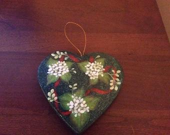 White Winter Flowers and blue Hydrangeas Christmas Ornament