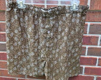 Men's Handmade Lightweight Polyester Underwear Boxers Briefs by Mumtaz Creations  - Size Large XL 38 - Brown Floral - Basque I918