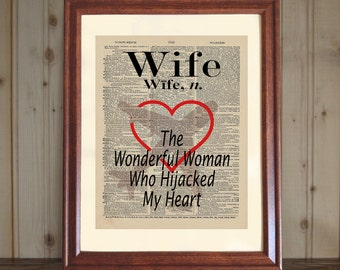 Wife Dictionary Print, Gift for Wife, Wife Quote, Wife Print, Valentine Gift Wife, Anniversary Gift, Wife Print on 5x7 or 8x10 canvas panel