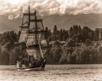 Tall Ship Photo, Lady Washington, Seascape Photography, Vintage Processing, Black and White Image