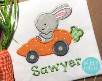 Boy Easter Shirt / Easter Bunny Applique / Carrot Car Shirt / Easter Bunny Applique / Easter Car / Toddler Easter / Baby Easter / 1st Easter