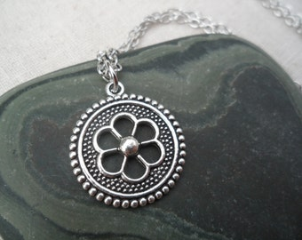 Silver Flower Pendant, Simple Silver Everyday Necklace, Unique, Modern Jewelry