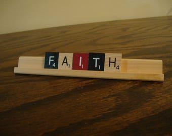 """Scrabble message , Desk décor, home décor- """"Faith"""""""