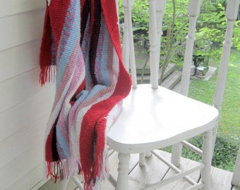 Crochet Blanket, Bedding, Throw, Red and White, Crochet, Cottage Decor, Handmade, Cottage Decor by mailordervintage on etsy
