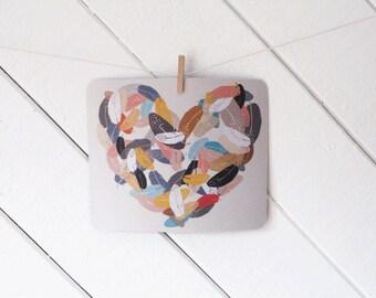 mousepad / Mouse Pad / Mat - Bird Feather Heart