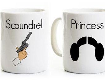 Geeky Couples Mugs - Scoundrel and Princess Mug Set - Science Fiction