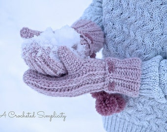 """Crochet Pattern: """"Winter Poms"""" Reversible Mittens, Sizes Infant thru Adult Large, Permission to Sell Finished Items"""