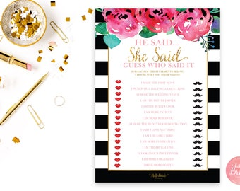 He Said She Said Printable Bridal Shower Game - Black, White and Gold - Bridal Shower Game - Instant Download