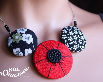 Necklace made of Japanese chirimen textile, silk necklace jewelry, textile necklace fabric necklace, necklace fabric buttons