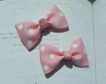 Pink Tuxedo Bow, Mini Tuxedo Bow, Pink Dot Bow, Baby Bow, Girl bow, Hair Bow, Hair Accrssories