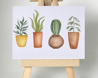 Mini Plants Painting, Succulent, Kitchen Painting, Cute Painting, Mini Watercolor Painting, Gift for Mom
