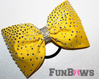 Gorgeous Bright Yellow LARGE Tail-less rhinestone cheer bow by FunBows !!