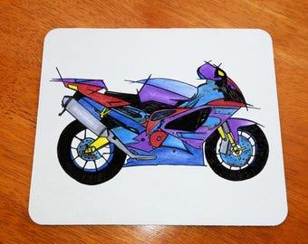Biker Mousepad, Biker Gift, Motorbike Mousepad, Motor Cycle, Office Gift, Biker Girl, Office Mousepad, Office Mousepad, Art Mousepad