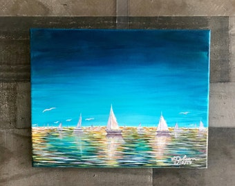 Acrylic Print, ships on ocean water