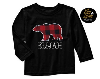 Woodland Bear Buffalo Plaid Applique Personalized Embroidered Shirt or Bodysuit