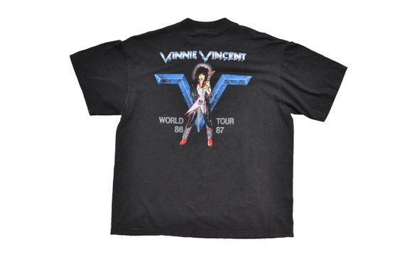 Kiss 1986 Hair Tour M World 1987 Vincent Vinnie Tee 1980s Metal Band Music Invasion Vintage Rock w68PqP