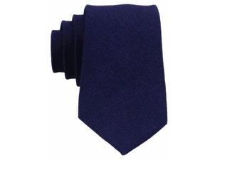 Navy Blue Linen Ties. Mens Tie.Navy Blue Skinny Tie. Mens Wedding Tie. Necktie for Suit.Shirt.