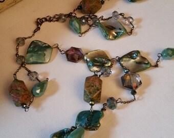 Beautiful iridescent glass beads necklace, abalone like